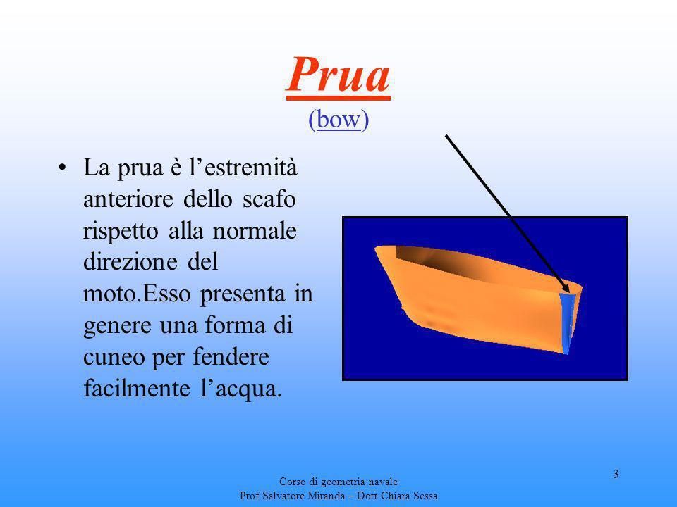 Corso di geometria navale Prof.Salvatore Miranda – Dott.Chiara Sessa 3 Prua (bow) La prua è lestremità anteriore dello scafo rispetto alla normale dir