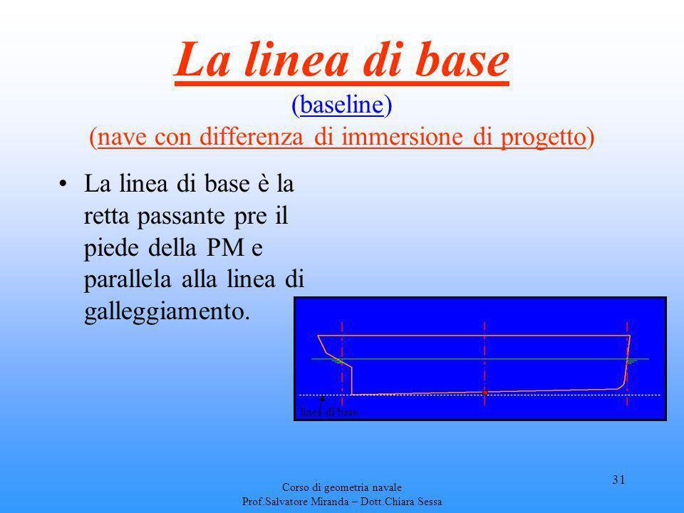 Corso di geometria navale Prof.Salvatore Miranda – Dott.Chiara Sessa 31 La linea di base (baseline) (nave con differenza di immersione di progetto) La