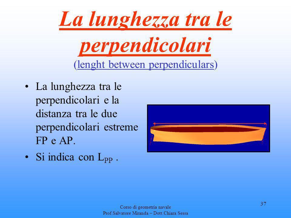 Corso di geometria navale Prof.Salvatore Miranda – Dott.Chiara Sessa 37 La lunghezza tra le perpendicolari (lenght between perpendiculars) La lunghezz