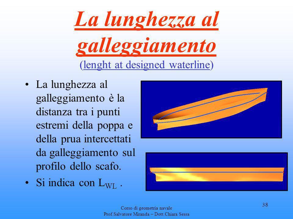 Corso di geometria navale Prof.Salvatore Miranda – Dott.Chiara Sessa 38 La lunghezza al galleggiamento (lenght at designed waterline) La lunghezza al