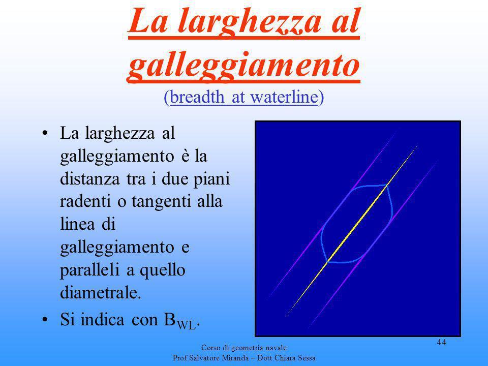 Corso di geometria navale Prof.Salvatore Miranda – Dott.Chiara Sessa 44 La larghezza al galleggiamento (breadth at waterline) La larghezza al galleggi