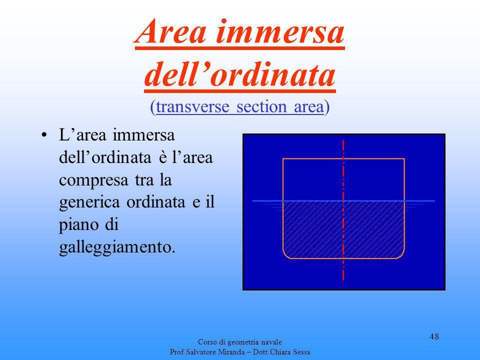 Corso di geometria navale Prof.Salvatore Miranda – Dott.Chiara Sessa 48 Area immersa dellordinata (transverse section area) Larea immersa dellordinata
