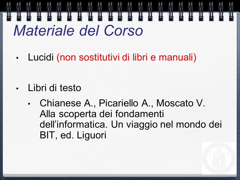 Lucidi (non sostitutivi di libri e manuali) Libri di testo Chianese A., Picariello A., Moscato V. Alla scoperta dei fondamenti dellinformatica. Un via