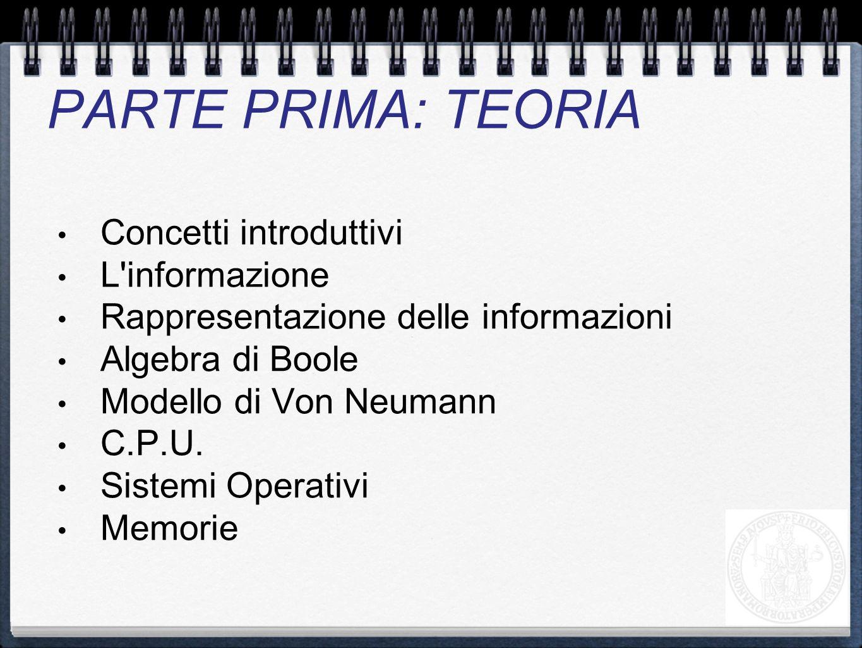 Concetti introduttivi L'informazione Rappresentazione delle informazioni Algebra di Boole Modello di Von Neumann C.P.U. Sistemi Operativi Memorie PART
