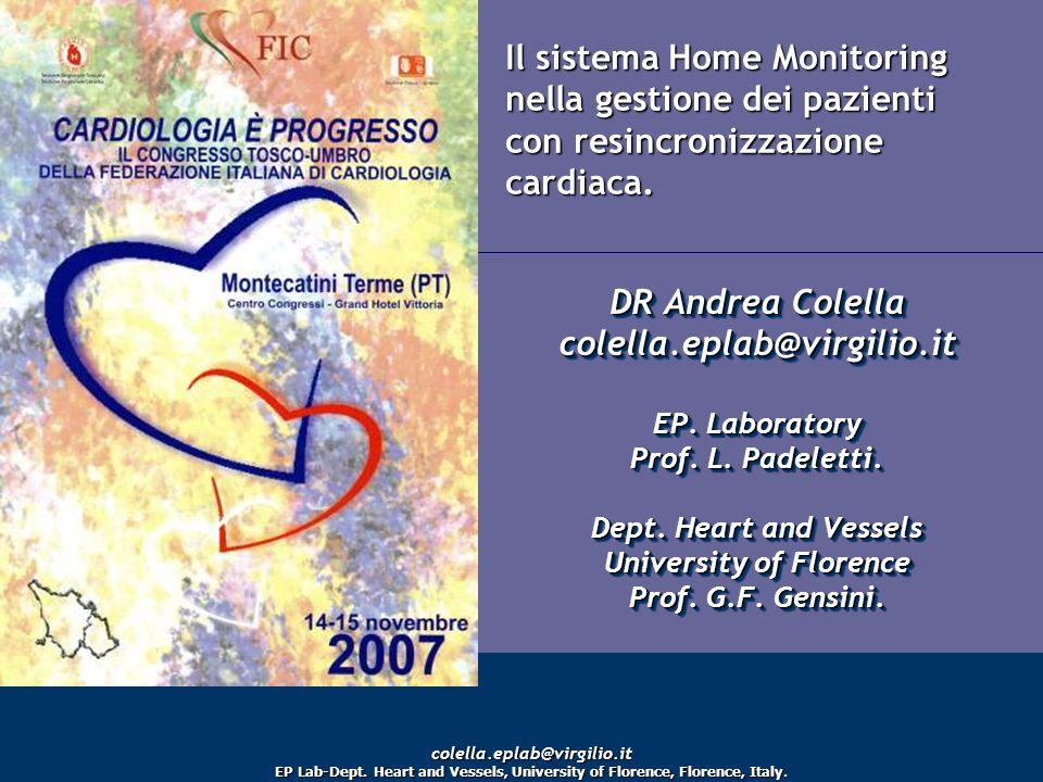 Il sistema Home Monitoring nella gestione dei pazienti con resincronizzazione cardiaca. DR Andrea Colella colella.eplab@virgilio.it EP. Laboratory Pro
