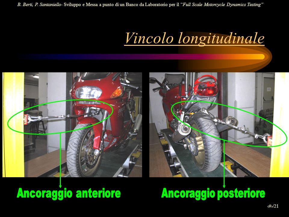 B. Berti, P. Santaniello- Sviluppo e Messa a punto di un Banco da Laboratorio per il Full Scale Motorcycle Dynamics Testing 14/21 Vincolo longitudinal