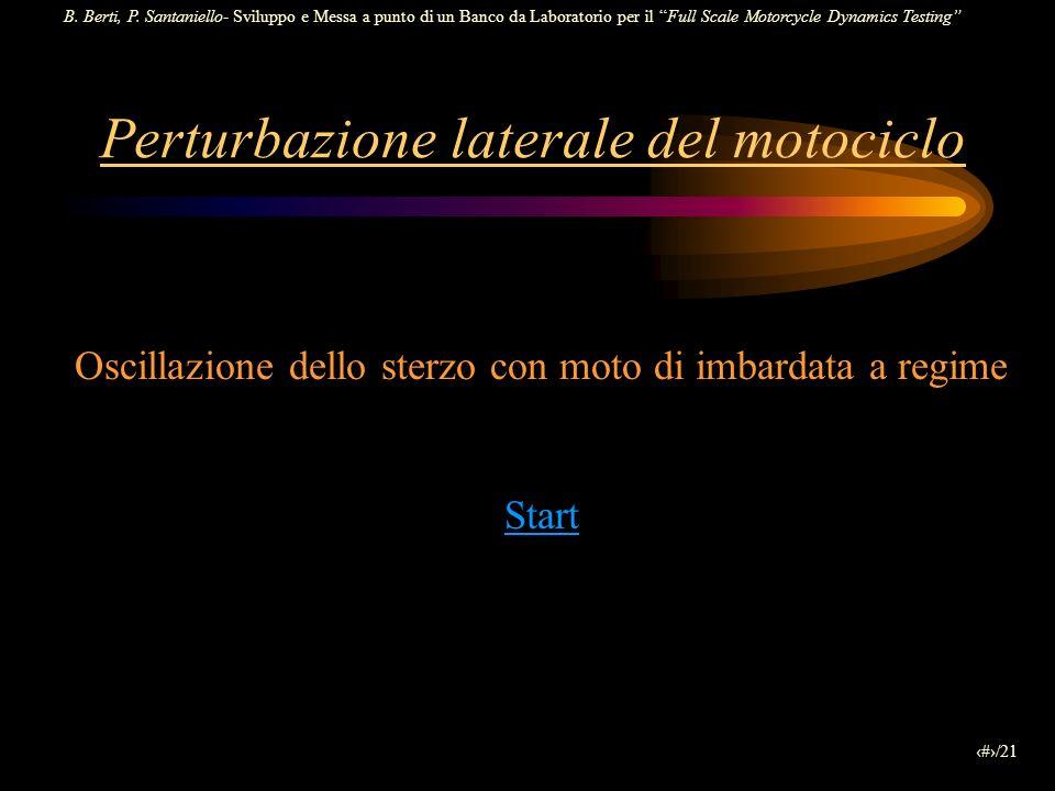 B. Berti, P. Santaniello- Sviluppo e Messa a punto di un Banco da Laboratorio per il Full Scale Motorcycle Dynamics Testing 19/21 Perturbazione latera
