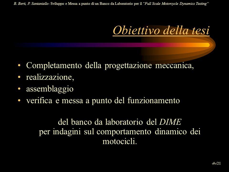 B. Berti, P. Santaniello- Sviluppo e Messa a punto di un Banco da Laboratorio per il Full Scale Motorcycle Dynamics Testing 2/21 Completamento della p