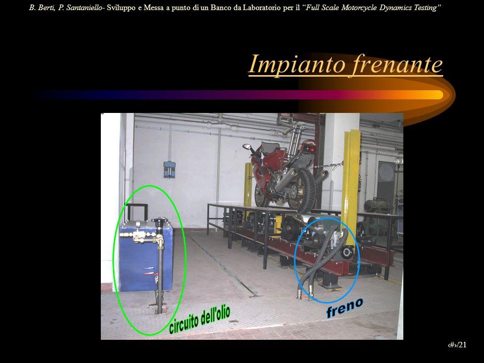 B. Berti, P. Santaniello- Sviluppo e Messa a punto di un Banco da Laboratorio per il Full Scale Motorcycle Dynamics Testing 9/21 Impianto frenante