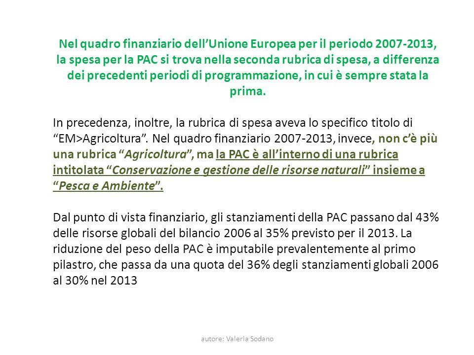 autore: Valeria Sodano Nel quadro finanziario dellUnione Europea per il periodo 2007-2013, la spesa per la PAC si trova nella seconda rubrica di spesa