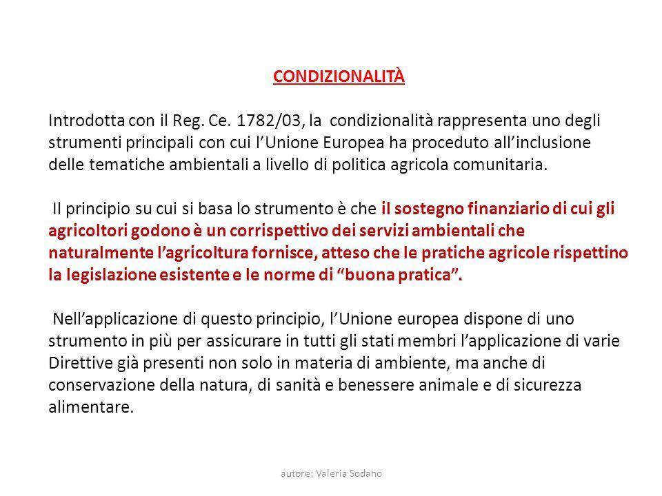 autore: Valeria Sodano CONDIZIONALITÀ Introdotta con il Reg. Ce. 1782/03, la condizionalità rappresenta uno degli strumenti principali con cui lUnione