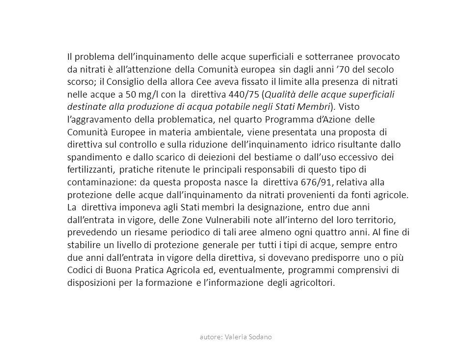autore: Valeria Sodano Il problema dellinquinamento delle acque superficiali e sotterranee provocato da nitrati è allattenzione della Comunità europea
