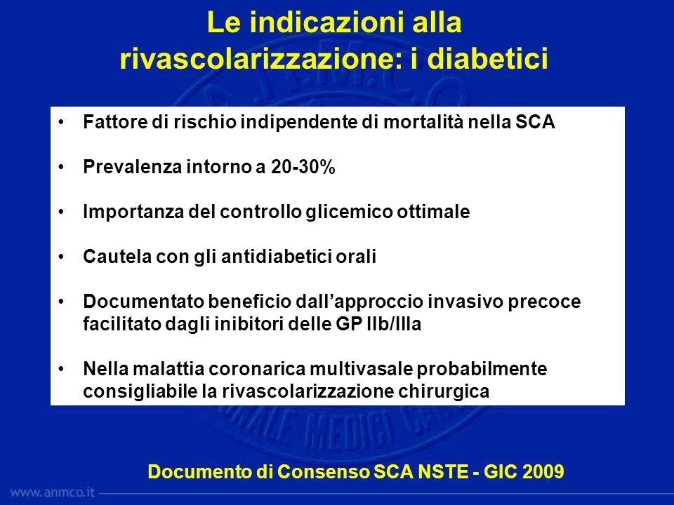 Le indicazioni alla rivascolarizzazione: i diabetici Fattore di rischio indipendente di mortalità nella SCA Prevalenza intorno a 20-30% Importanza del