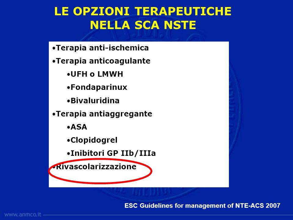 LE OPZIONI TERAPEUTICHE NELLA SCA NSTE Terapia anti-ischemica Terapia anticoagulante UFH o LMWH Fondaparinux Bivaluridina Terapia antiaggregante ASA C