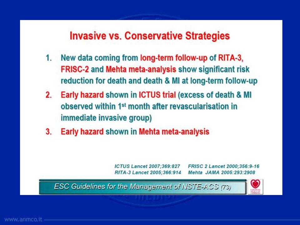Le indicazioni alla rivascolarizzazione: gli anziani GRACE (1999-2006)- Eur Heart J 2008; 29:1275-82 Six-month outcomes < 70 anni 70-80 anni > 80 anni