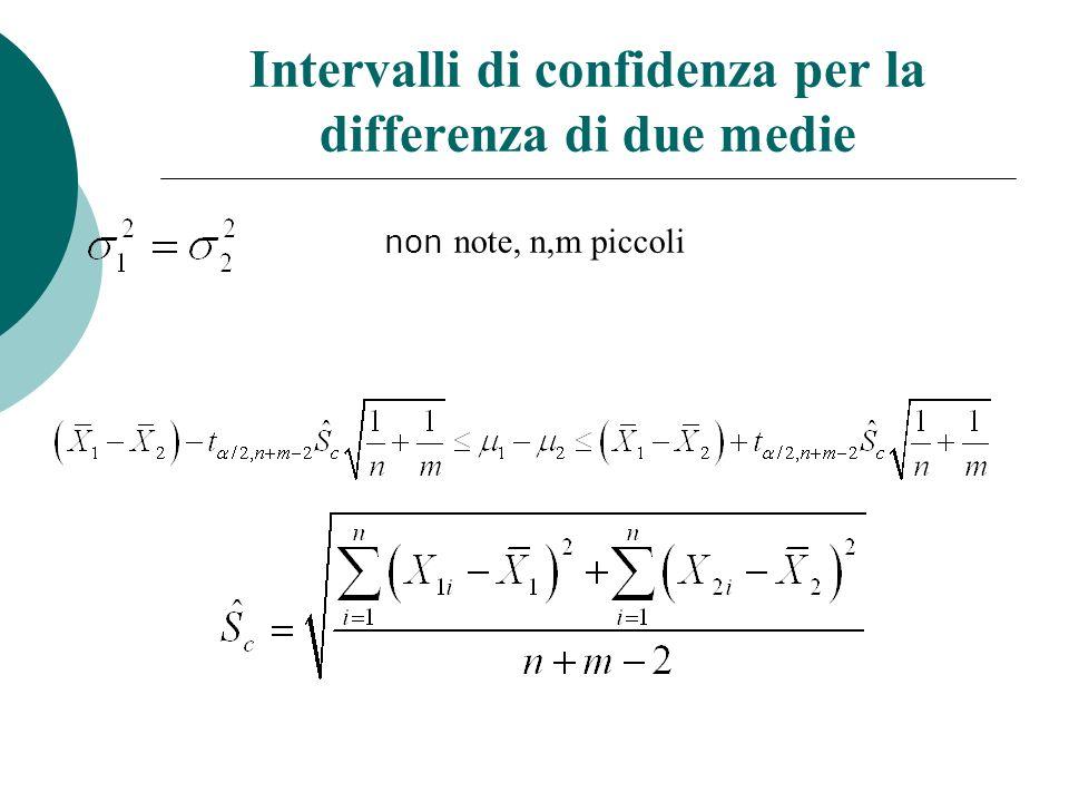 Intervalli di confidenza per la differenza di due medie non note, n,m piccoli