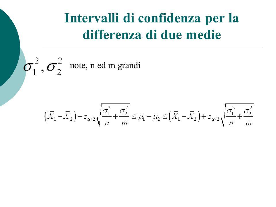 Intervalli di confidenza per la differenza di due medie note, n ed m grandi