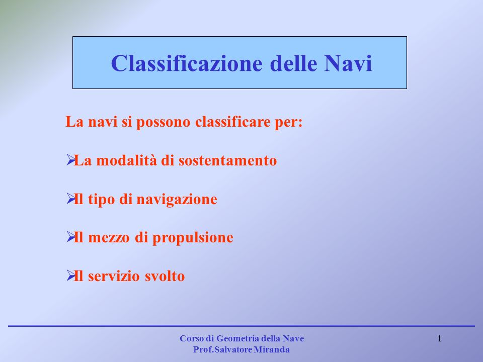 Corso di Geometria della Nave Prof.Salvatore Miranda 2 In base al sostentamento, si hanno: Navi dislocanti; Navi veloci (High Sped Craft: HSC); Unità subacquee; Unità sommergibili; Unità semisommergibili.