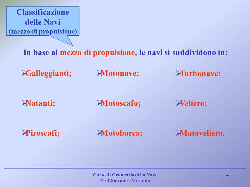 Corso di Geometria della Nave Prof.Salvatore Miranda 4 In base al mezzo di propulsione, le navi si suddividono in: Galleggianti; Natanti; Piroscafi; M