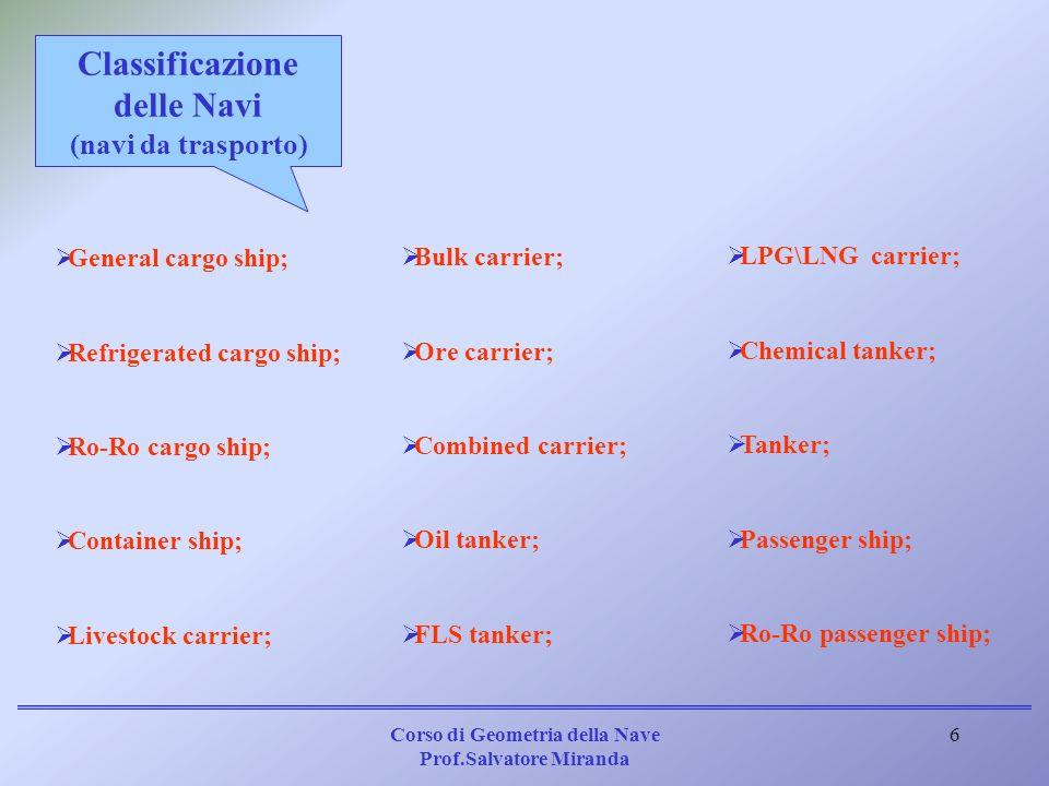 Corso di Geometria della Nave Prof.Salvatore Miranda 6 General cargo ship; Refrigerated cargo ship; Ro-Ro cargo ship; Container ship; Livestock carrie