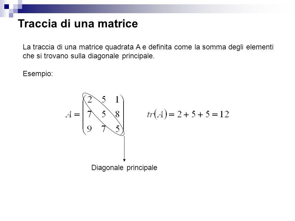 Traccia di una matrice La traccia di una matrice quadrata A e definita come la somma degli elementi che si trovano sulla diagonale principale.