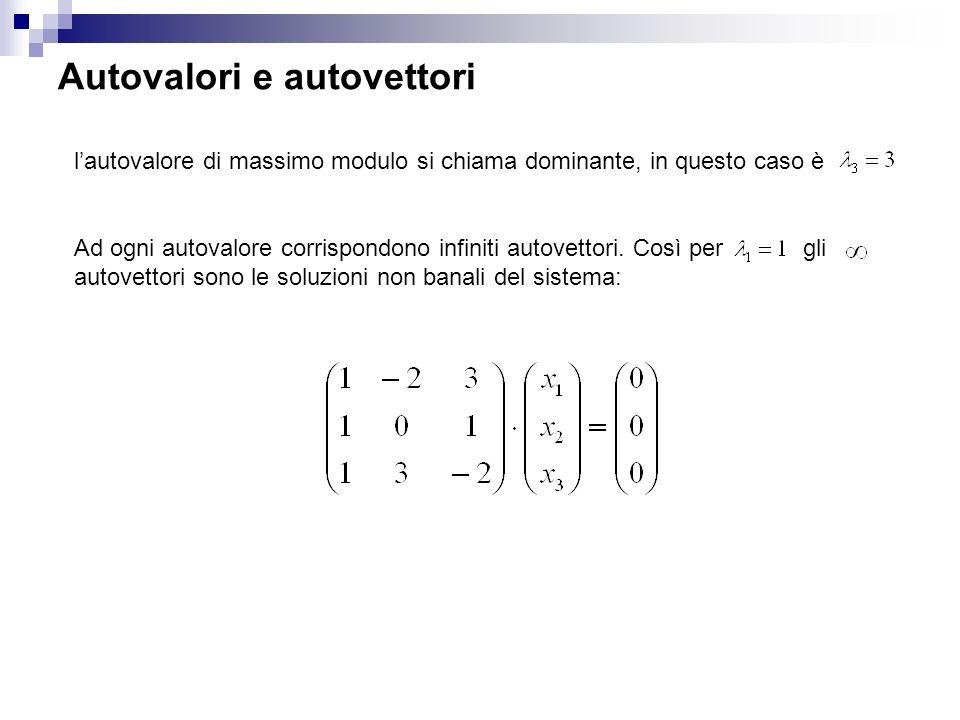 Autovalori e autovettori lautovalore di massimo modulo si chiama dominante, in questo caso è Ad ogni autovalore corrispondono infiniti autovettori.