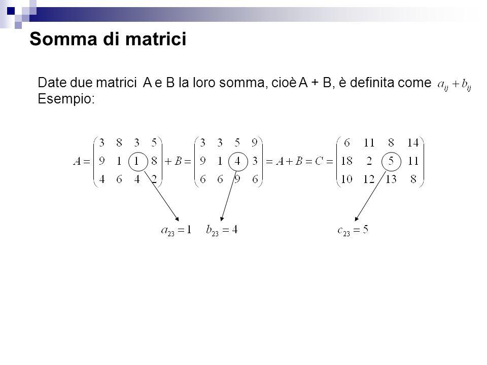 Somma di matrici Date due matrici A e B la loro somma, cioè A + B, è definita come Esempio: