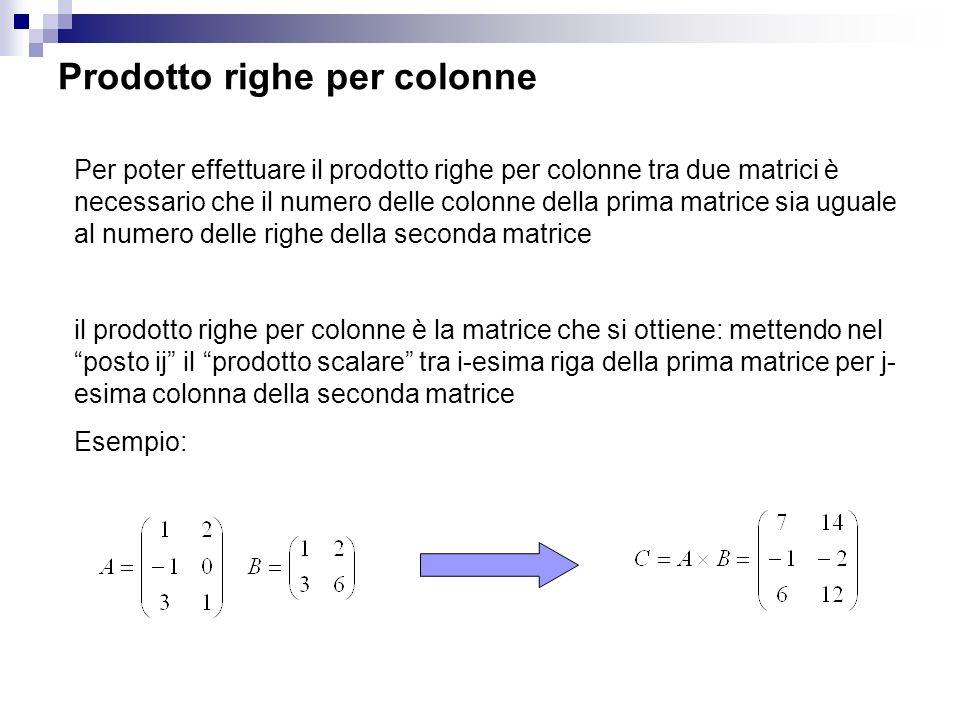 Prodotto righe per colonne Per poter effettuare il prodotto righe per colonne tra due matrici è necessario che il numero delle colonne della prima matrice sia uguale al numero delle righe della seconda matrice il prodotto righe per colonne è la matrice che si ottiene: mettendo nel posto ij il prodotto scalare tra i-esima riga della prima matrice per j- esima colonna della seconda matrice Esempio: