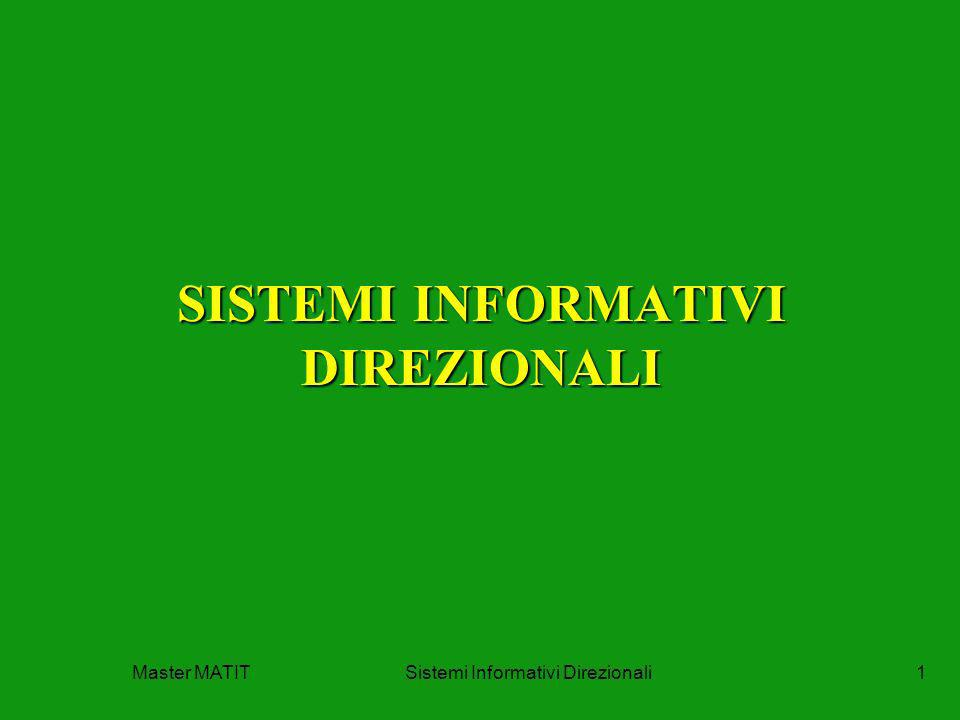 Master MATITSistemi Informativi Direzionali1 SISTEMI INFORMATIVI DIREZIONALI