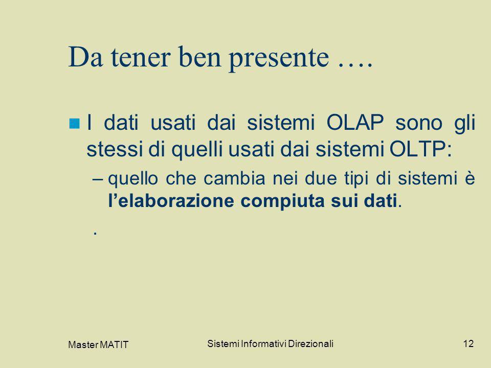 Master MATIT Sistemi Informativi Direzionali12 Da tener ben presente …. I dati usati dai sistemi OLAP sono gli stessi di quelli usati dai sistemi OLTP