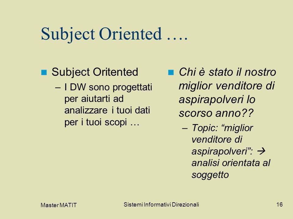 Master MATIT Sistemi Informativi Direzionali16 Subject Oriented …. Subject Oritented –I DW sono progettati per aiutarti ad analizzare i tuoi dati per