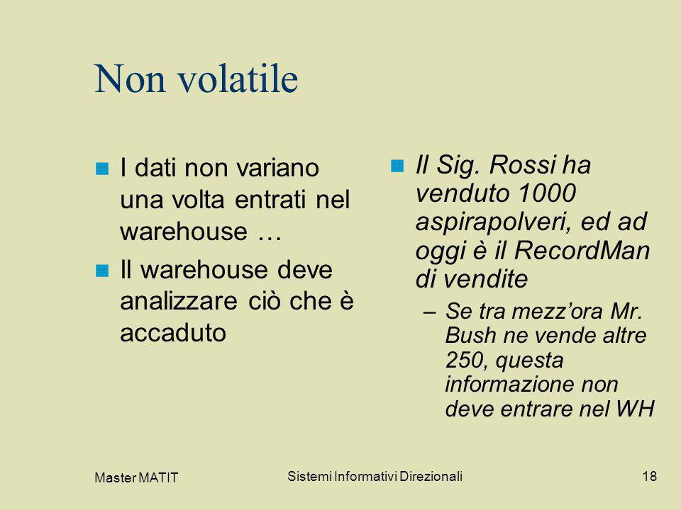 Master MATIT Sistemi Informativi Direzionali18 Non volatile I dati non variano una volta entrati nel warehouse … Il warehouse deve analizzare ciò che