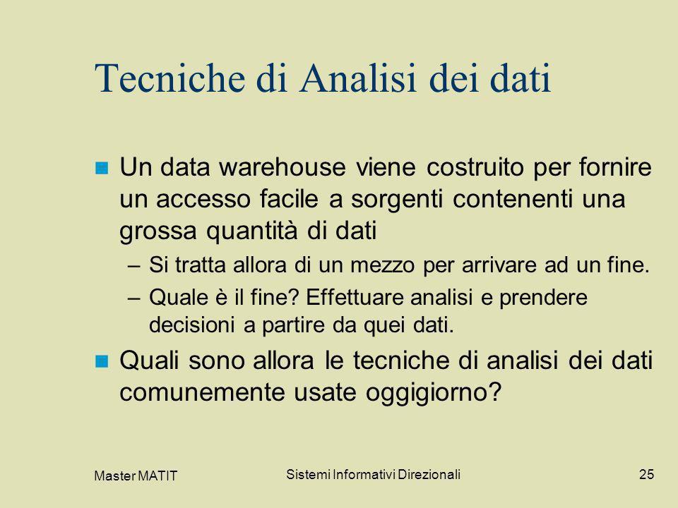 Master MATIT Sistemi Informativi Direzionali25 Tecniche di Analisi dei dati Un data warehouse viene costruito per fornire un accesso facile a sorgenti