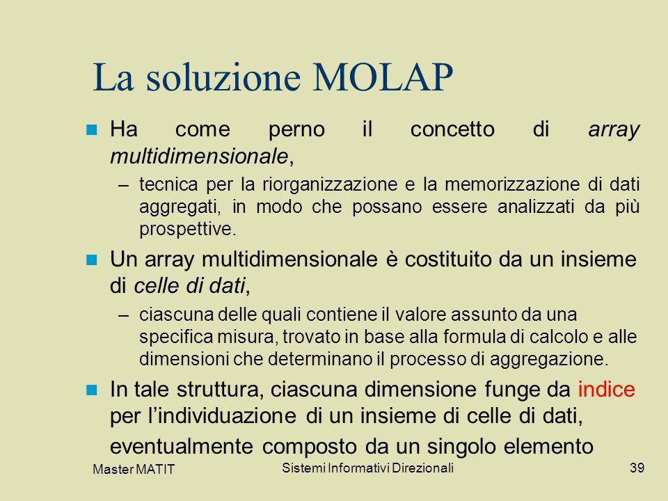 Master MATIT Sistemi Informativi Direzionali39 La soluzione MOLAP Ha come perno il concetto di array multidimensionale, –tecnica per la riorganizzazio