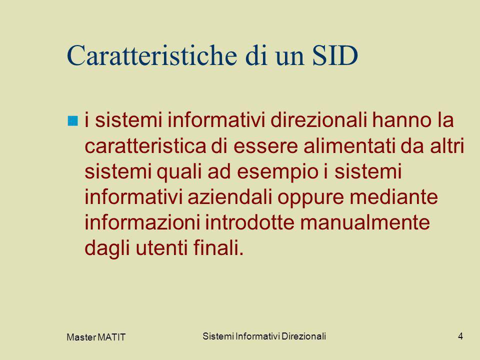 Master MATIT Sistemi Informativi Direzionali4 Caratteristiche di un SID i sistemi informativi direzionali hanno la caratteristica di essere alimentati