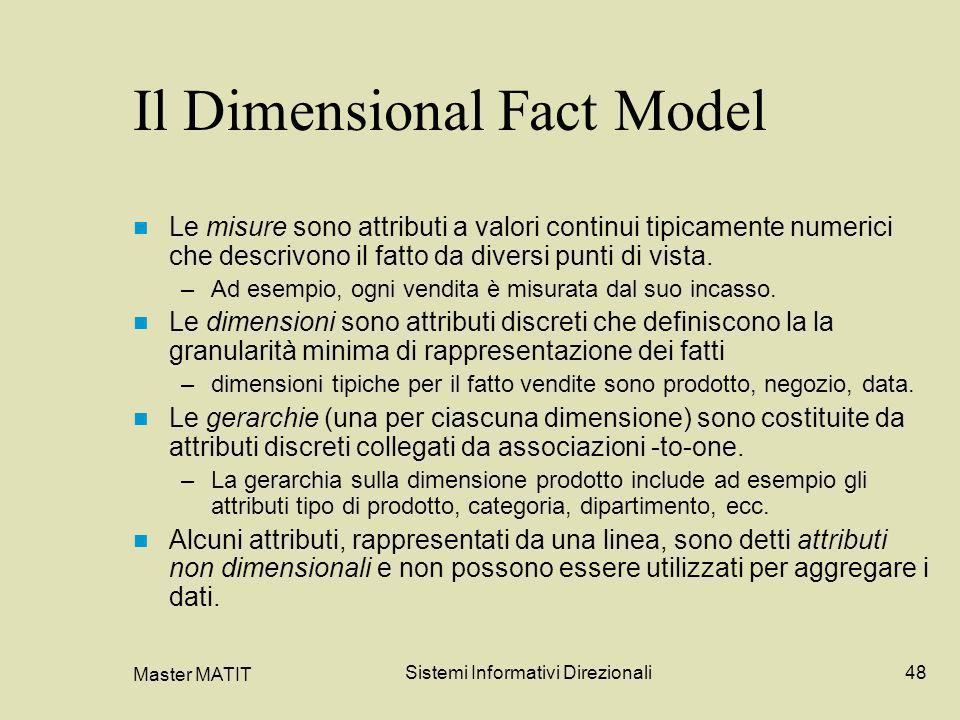 Master MATIT Sistemi Informativi Direzionali48 Il Dimensional Fact Model Le misure sono attributi a valori continui tipicamente numerici che descrivon
