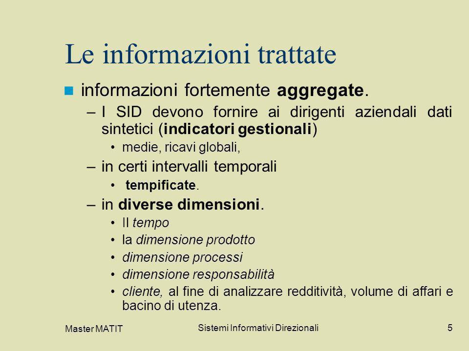 Master MATIT Sistemi Informativi Direzionali5 Le informazioni trattate informazioni fortemente aggregate. –I SID devono fornire ai dirigenti aziendali
