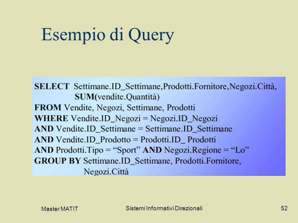 Master MATIT Sistemi Informativi Direzionali52 Esempio di Query