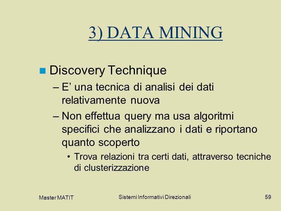 Master MATIT Sistemi Informativi Direzionali59 3) DATA MINING Discovery Technique –E una tecnica di analisi dei dati relativamente nuova –Non effettua