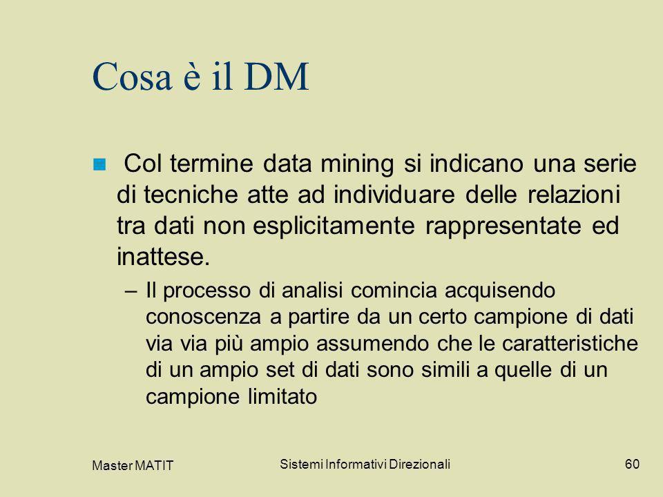 Master MATIT Sistemi Informativi Direzionali60 Cosa è il DM Col termine data mining si indicano una serie di tecniche atte ad individuare delle relazi