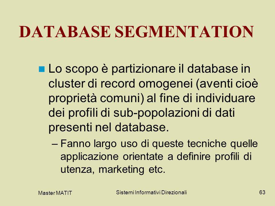 Master MATIT Sistemi Informativi Direzionali63 DATABASE SEGMENTATION Lo scopo è partizionare il database in cluster di record omogenei (aventi cioè pr