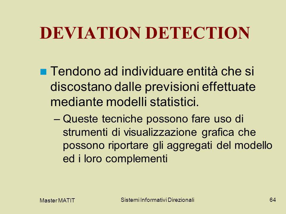 Master MATIT Sistemi Informativi Direzionali64 DEVIATION DETECTION Tendono ad individuare entità che si discostano dalle previsioni effettuate mediant