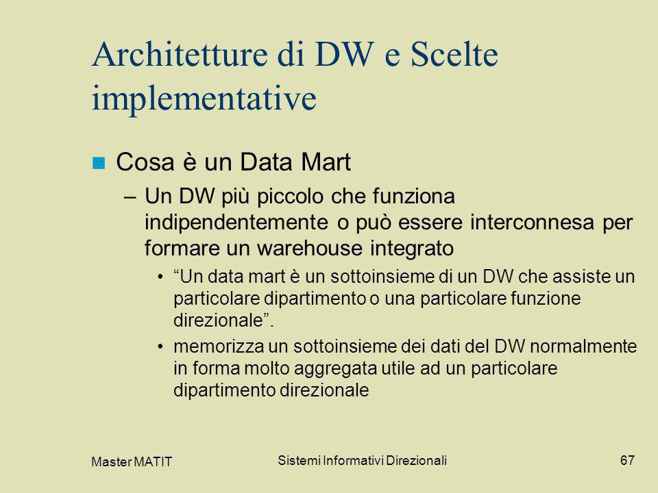 Master MATIT Sistemi Informativi Direzionali67 Architetture di DW e Scelte implementative Cosa è un Data Mart –Un DW più piccolo che funziona indipend