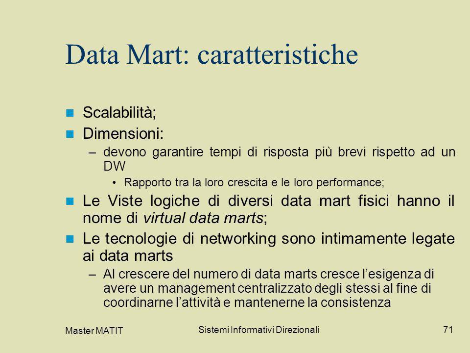 Master MATIT Sistemi Informativi Direzionali71 Data Mart: caratteristiche Scalabilità; Dimensioni: –devono garantire tempi di risposta più brevi rispe