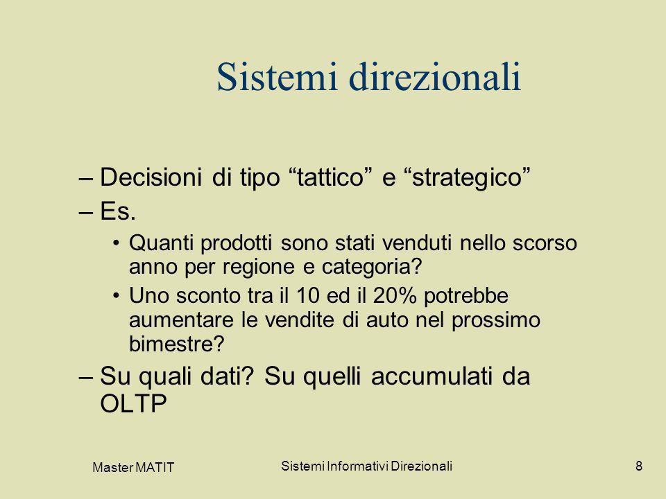 Master MATIT Sistemi Informativi Direzionali8 Sistemi direzionali –Decisioni di tipo tattico e strategico –Es. Quanti prodotti sono stati venduti nell
