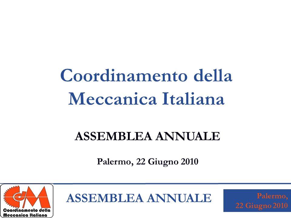 Palermo, 22 Giugno 2010 ASSEMBLEA ANNUALE Coordinamento della Meccanica Italiana ASSEMBLEA ANNUALE Palermo, 22 Giugno 2010