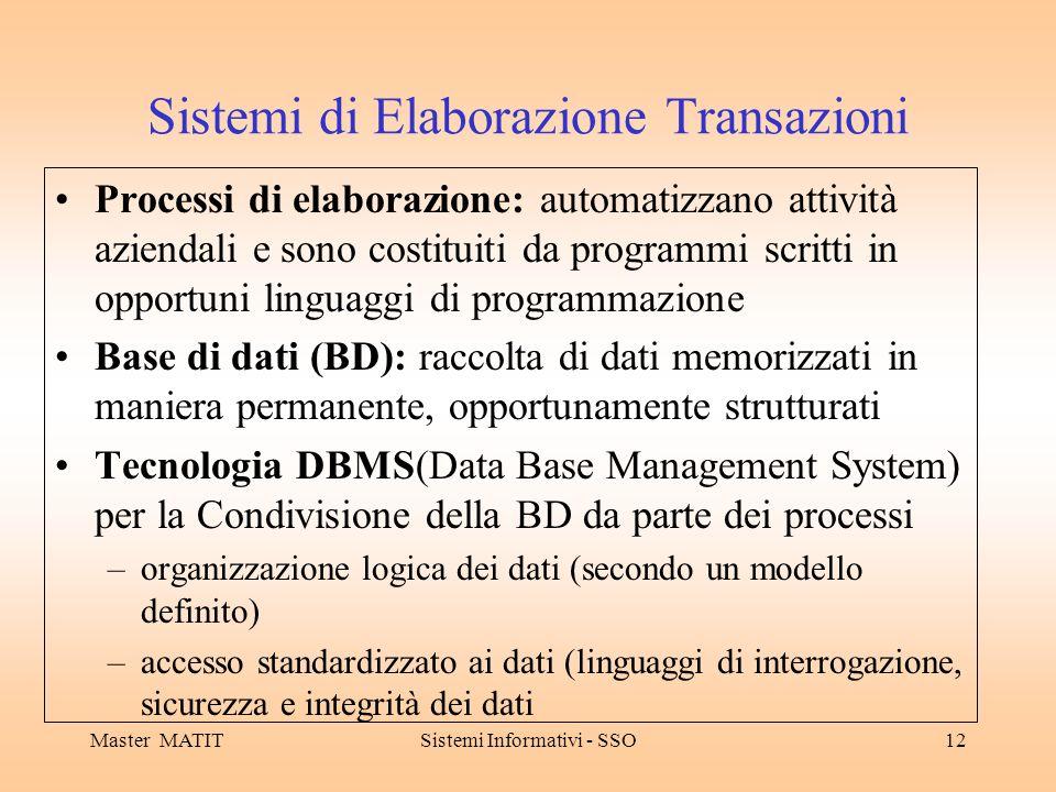 Master MATITSistemi Informativi - SSO12 Sistemi di Elaborazione Transazioni Processi di elaborazione: automatizzano attività aziendali e sono costitui