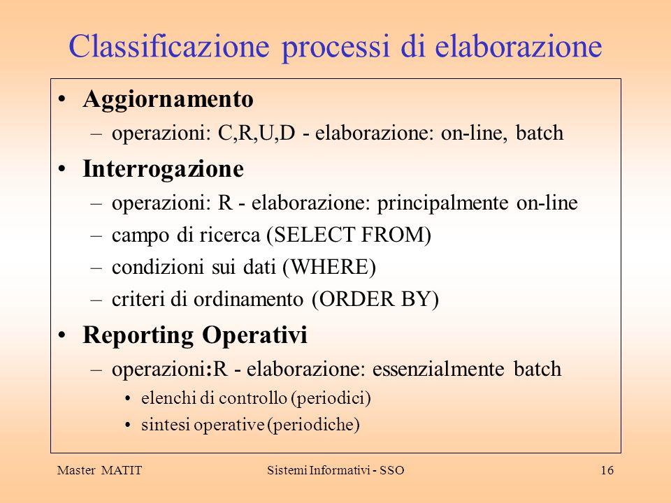 Master MATITSistemi Informativi - SSO16 Classificazione processi di elaborazione Aggiornamento –operazioni: C,R,U,D - elaborazione: on-line, batch Interrogazione –operazioni: R - elaborazione: principalmente on-line –campo di ricerca (SELECT FROM) –condizioni sui dati (WHERE) –criteri di ordinamento (ORDER BY) Reporting Operativi –operazioni:R - elaborazione: essenzialmente batch elenchi di controllo (periodici) sintesi operative (periodiche)