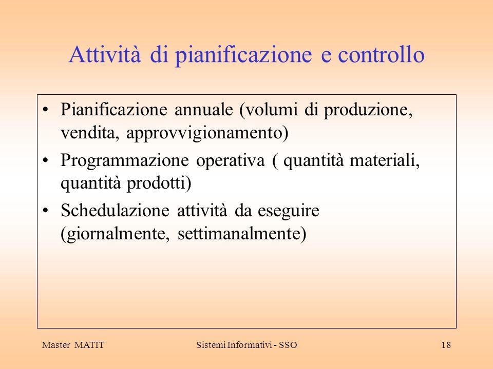 Master MATITSistemi Informativi - SSO18 Attività di pianificazione e controllo Pianificazione annuale (volumi di produzione, vendita, approvvigionamen