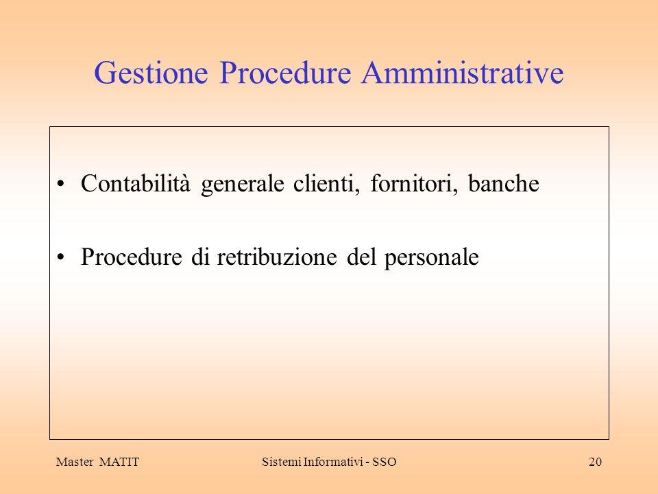 Master MATITSistemi Informativi - SSO20 Gestione Procedure Amministrative Contabilità generale clienti, fornitori, banche Procedure di retribuzione del personale